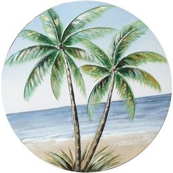 JD Yeatts Palm Tree Round Canvas Wall Art