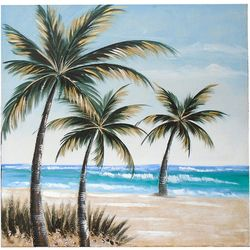 JD Yeatts Palm Trees On Beach Canvas Wall Art