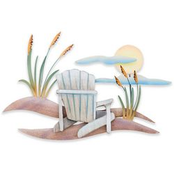 T.I. Design Beach Chair Scene Metal Wall Art