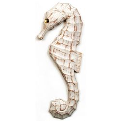 T.I. Design Carved Left Seashorse Wood Wall Art