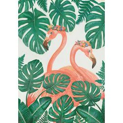 Streamline Art Tropical Flamingos Canvas Wall Art
