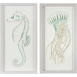Patton 2-pc. Seahorse and Jelly Fish Framed Wall Art