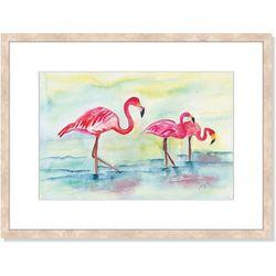 Palm Island Home Sunset Flamingo Framed Art