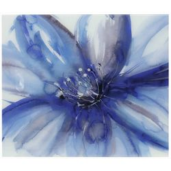 StyleCraft Blue Flower Tempered Glass Wall Art