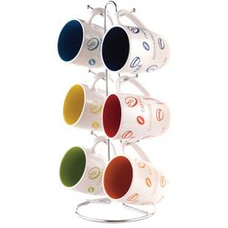 Home Basics 6-pc Coffee Sayings Mug Set With Stand