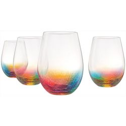Artland 4-pc. Neon Stemless Wine Glass Set