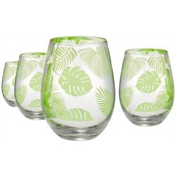 Artland 4-pc. Tropical Leaves Stemless Wine Glass Set