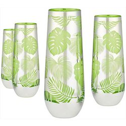 Artland 4-pc. Tropical Leaves Stemless Flute Glass Set