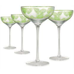 Artland 4-pc. Tropical Leaves Coupe Glass Set
