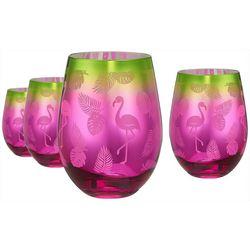 Artland 4-pc. Tropical Flamingo Stemless Glass Set