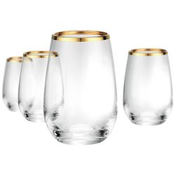 Artland Gold Band 4-pc. Stemless Wine Goblet Set