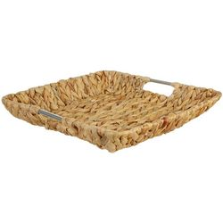 Uma Ent Square Woven Seagrass Metal Handle Basket