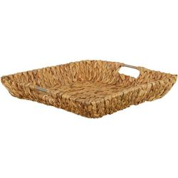 Uma Ent Square Woven Seagrass Metal Handle Basket