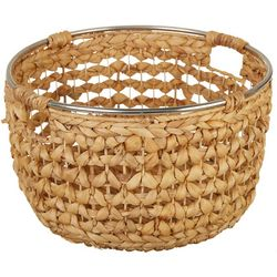 Uma Ent Round Woven Seagrass Metal Trim Basket