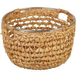 Uma Ent Round Woven Seagrass Metal Trim Basket