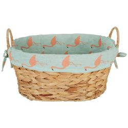Fancy That Flamingo Lined Woven Rattan Decorative Basket