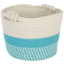 Fancy That Cotton Aqua Stripe Decorative Storage