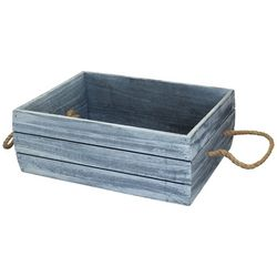 Gourmet Home Products Wood Crate With Rope Handles