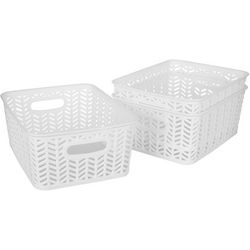 Kenton Grey 3-pc. Herringbone Weave Storage Bins