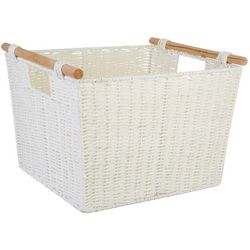 Home Expressions Large Paper Cord Tote With Wood