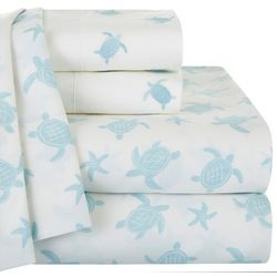 Coastal Home Turtle Print & Embroidered Sheet Set