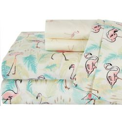 Coastal Home Flamingo Paradise Print & Embroidered Sheet