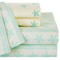 Coastal Home Starfish Print & Embroidered Sheet Set