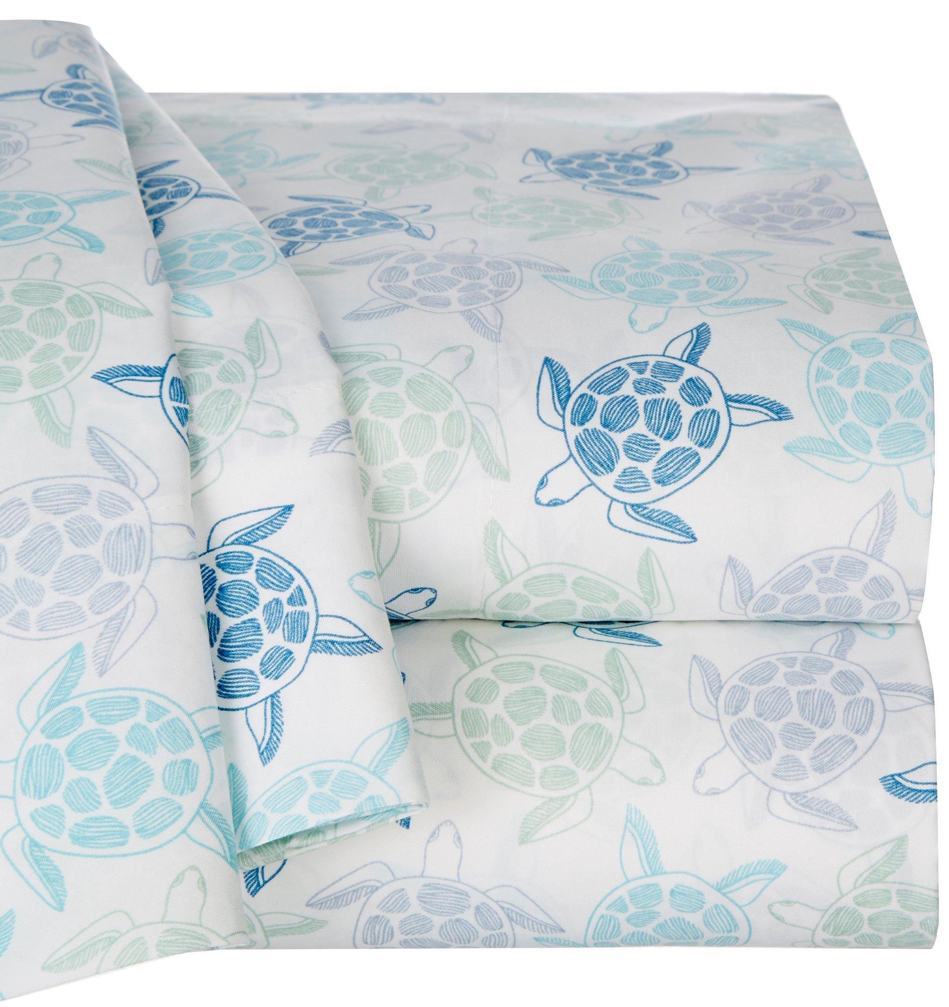 3//4 PC Kids Sea Turtles Starfish Ocean Sheet Set Elite Home Coastal 6 Sizes