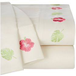 Coastal Home Banana Leaf Hibiscus Embroidered Sheet Set