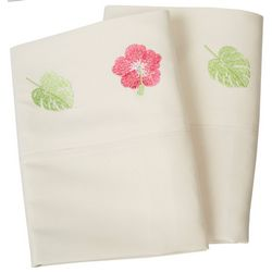 Coastal Home 2-pc. Hibiscus Embroidered Pillowcase Set