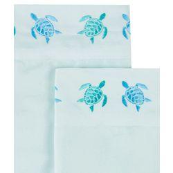 Coastal Home 2-pc. Embroidered Sea Turtles Pillow Case Set
