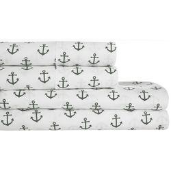 S.L. Home Fashions Anchor Grey Print Sheet Set