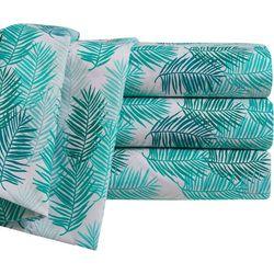 By The Seashore Blue Tropics Microfiber Sheet Set