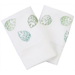 Coastal Home 2-pc. Tropical Leaf Embroidered Pillowcase Set