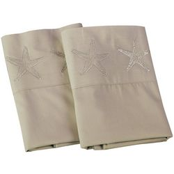 Panama Jack 2-pc. Percale Embroidered Starfish Pillow Case