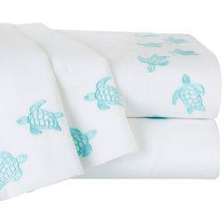 Coastal Home Sea Turtle Embroidered Sheet Set