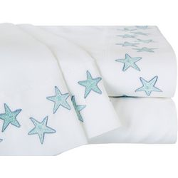 Coastal Home Aqua Starfish Embroidered Sheet Set