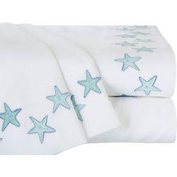 Coastal Home Aqua Starfish Embroidered Sheet Set