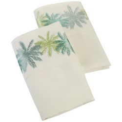 Coastal Home 2-pc. Embroidered Palm Trees Pillow Case Set