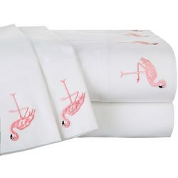 Panama Jack Embroidered Hem Flamingo Sheet Set