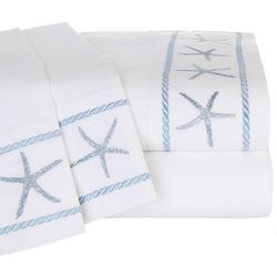 Panama Jack Embroidered Blue Starfish Sheet Set