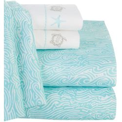 Retreat Home Collection Myrtle Beach Waves Sheet Set
