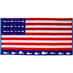 Reel Legends Fish & Ships Beach Towel
