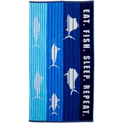 Reel Legends Fish Stripe Beach Towel