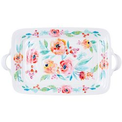 Coastal Home Blush Floral Tray With Handles