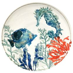 Coastal Home Coral Reef Seahorse Appetizer Plate