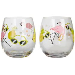Tropix 2-pc. Flamingo Stemless Goblet Set