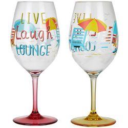 Tropix 2-pc. Live Laugh Lounge Wine Goblet Set