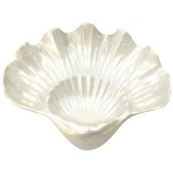 Coastal Home Embossed Shells 2 Section Bowl