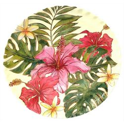Coastal Home Bamboo Breeze Hibiscus Dinner Plate